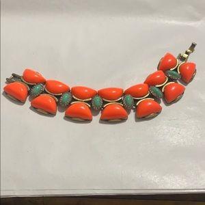 JCrew Orange Teal Latch Bracelet